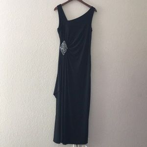 Cachet Black Long Ruched Dress